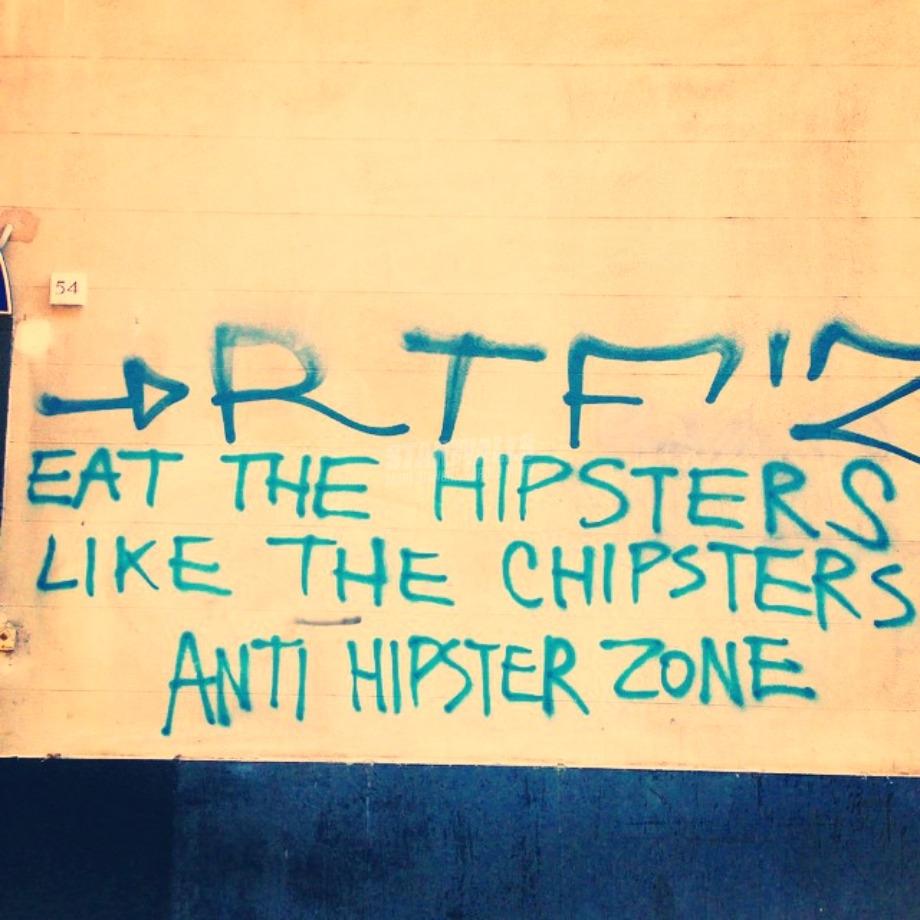 Scritte sui Muri Anti Hipster Zone
